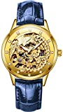 PASOY Womens Automatic Mechanical Watches Phoenix Dila Blue Leather Strap Waterproof Skeleton Watch 33MM