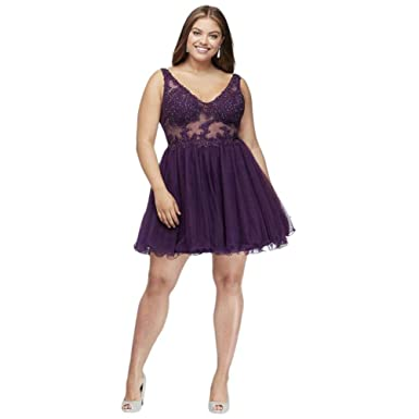 Davids Bridal Embroidered Sheer Plus Size Prom Dress with V-Back Style 256540W, Eggplant