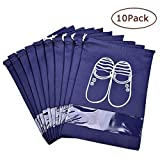 Vovoly Portable Travel Shoe Bags Dustproof Shoe Organizer for Men and Women Water-resistant Space Saving Storage Bags Navy Blue (10 pcs)