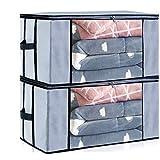 Seckon Bolsas de almacenamiento con cremallera, gris, Paquete de 2