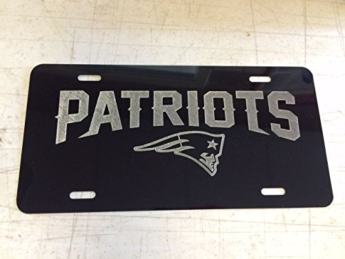 Diamond Etched New England Patriots New Logo Car Tag on Aluminum License Plate
