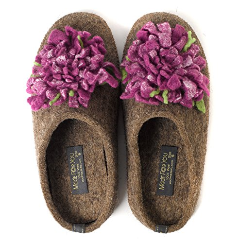Made For You Women's Natural Wool Slippers with Handmade Chrysanthemum Flower, Lightweight and Comfortable with Non-Slip Rubber Sole and 1/2