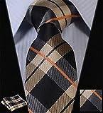 Dan Smatree Brown Navy Blue Check Silk Mans Tie Neckties Hanky Handkerchief Set