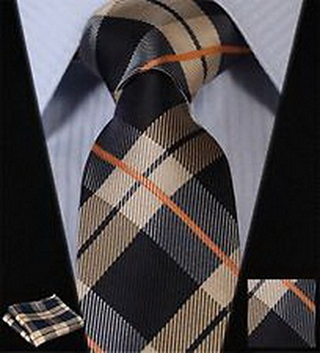 Dan Smatree Brown Navy Blue Check Silk Mans Tie Neckties Hanky Handkerchief Set
