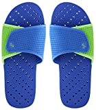 Showaflops Mens' Antimicrobial Shower & Water Sandals for Pool, Beach, Dorm and Gym - Royal Blue/Green Slide 13/14