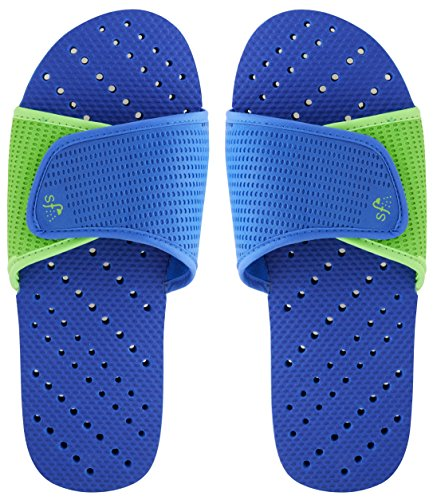 Showaflops Men's Antimicrobial Shower & Water Sandals - Royal Blue/Green Slide - Hills Care Now Green