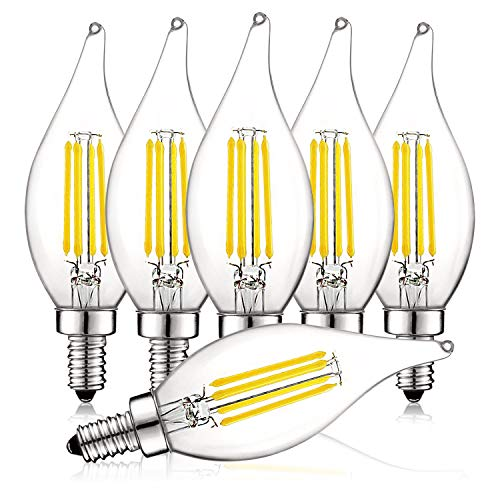 (Luxrite 4W Vintage Candelabra LED Bulbs Dimmable, 450 Lumens, 5000K Bright White, E12 LED Bulb 40W Equivalent, Flame Tip Clear Glass, Edison Filament LED Candle Bulb, UL Listed (6 Pack))