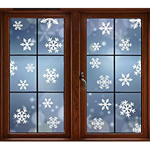AMS 145 Pieces Christmas Decoration Snowflakes Window Cling Decals PVC Stickers Wall Ornaments Home, Office, New Year, Christmas Party Supplies