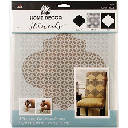 Price comparison product image Plaid:Craft Plastic Folkart Home Decor Masking Stencils 3 / Pk 9.5-inch x 8.5-inch,  Trellis by Plaid:Craft