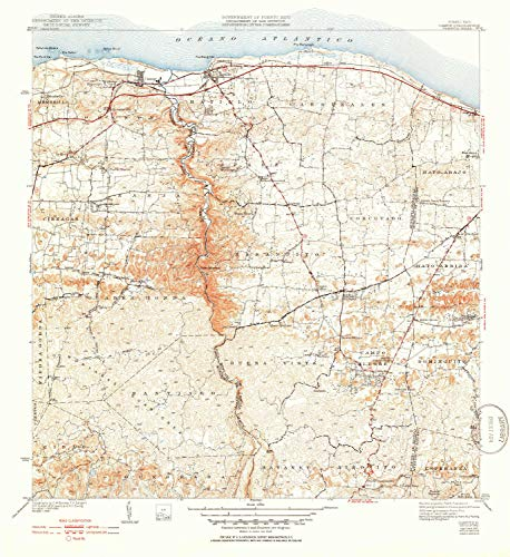 YellowMaps Camuy PR topo map, 1:30000 Scale, 7.5 X 7.5 Minute, Historical, 1942, Updated 1952, 21.6 x 19.8 in - Paper ()