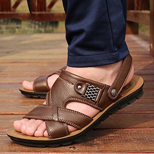 Sandalias Brown Antideslizantes Grandes Abiertos Zapatillas De 47 Para Sandalias Tallas Playa Zapatillas De De 37 De Negocios Cuero Chanclas Ocasionales Hombres Los Transpirables Pies gPRXgrqwz