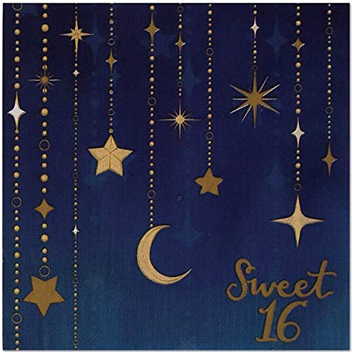 Starry Night Sweet 16 6.5'' Lunch Napkins - 48 count - Celestial, Star, Moon Paper Party Napkins for Teen, Girls Birthday by Birthday Direct