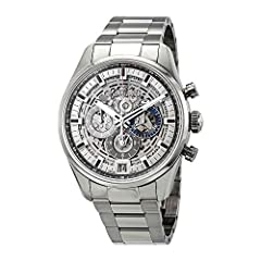 Silver-tone stainless steel case with a silver-tone stainless steel bracelet. Fixed stainless steel bezel. Skeleton dial with silver-tone hands and index hour markers. Minute scale around the inner rim. Dial Type: Analog. Luminescent hands an...