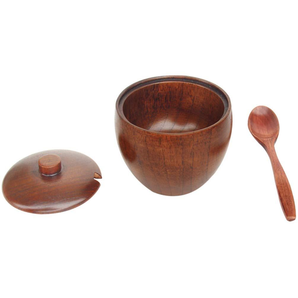 KYMLL Boîte à sel en Bois, Pot à épices pour Pot d'assaisonnement en Bois avec cuillère et Couvercle de récipient de Rangement de Cuisine