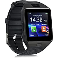 DZ09 Bluetooth Smart Watch - Qidoou Upgraded Touch Screen Smart Wrist Watch Phone Support SIM TF Card With Camera Pedometer Activity Tracker for iphone IOS Samsung LG Android Phones (Black)