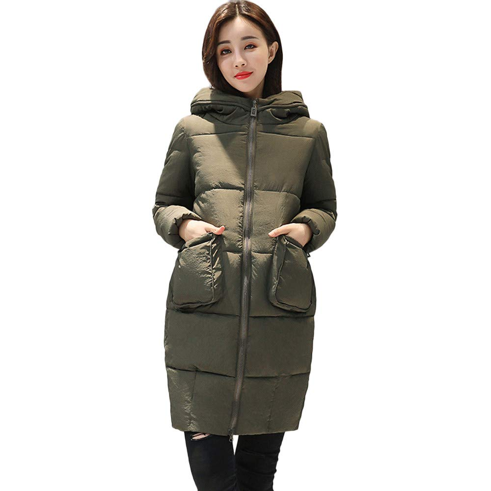 Seaintheson Women's Knee-Length Down Puffer Coat, Winter Warm Faux Fur Hooded Thick Slim Jacket Long Overcoat Army Green