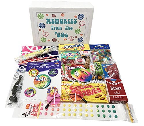 Woodstock Candy 1960s Time Capsule Box Birthday Gift Assortment with Vintage Nostalgia Candy Memories for a Man or Woman ~ Peace Sign Necklace ~ Rose Colored Glasses ~ Bandana for $<!--$27.90-->