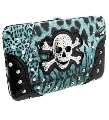 Blue Leopard Print Skull Rhinestone Wallet