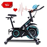 ANCHEER Indoor Exercise Bike Stationary, Belt Drive Cycling Bike with Heart Rate Monitor, Workout Bikes with Comfortable Seat Cushion & LCD Monitor, for Home Office Exercise