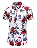 LEFTGU Men's Slim fit Floral Printed Short-Sleeve Button-Down Dress Shirt (Small Chest: 37.8 inch, Short White red 9899)