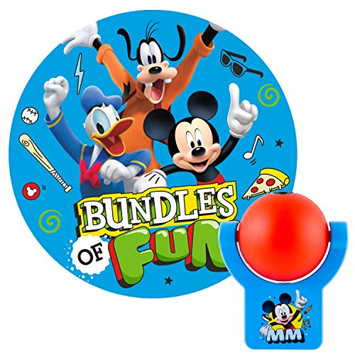Projectables Mouse Clubhouse Plug-in LED Night, Light Sensor, Disney Characters Mickey, Goofy, Donald Image on Ceiling, Wall, or Floor, Red/Blue, 11743, Mutli (Best Disney Characters List)