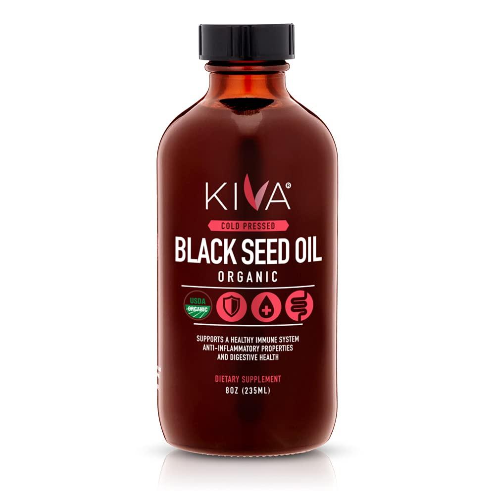 Kiva Organic Black Seed Oil | 100% Pure Cold-Pressed Nigella Sativa (Cumin Seeds) | Over 1.50% Thymoquinone (TQ) - Powerful Antioxidant | Raw | Vegan | Non-GMO | 8oz / 235ml