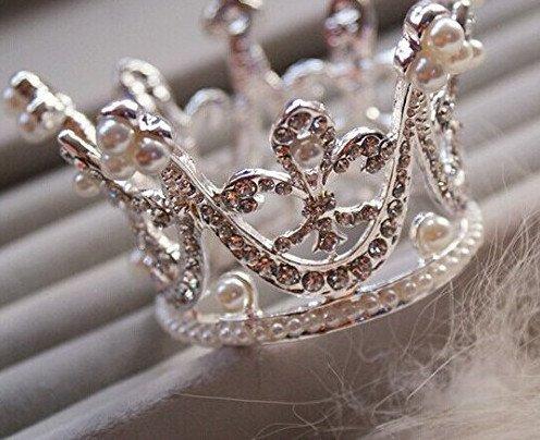 Bridal Wedding Party Baby Pearl Rhinestone Full Circle Round Mini Crown Tiara Princess Crown by Sunshinesmile -