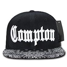 Compton Flat Bill Snapback Black Adjustable Baseball Cap Hat