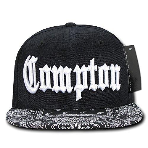 Black Compton Vintage Embroidered Hip Hop Flat Bill Bandana Snapback Cap (Compton Hat Eazy E)