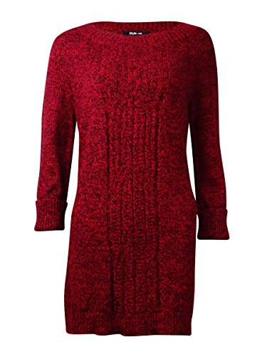 Style & Co. Womens Plus Cable Knit Marled Tunic Sweater Red 1X