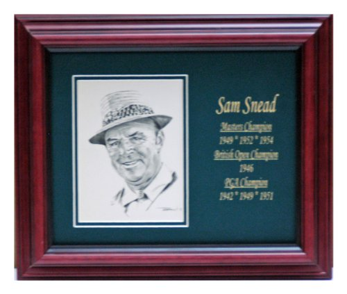 (Sam Snead postcard with engraved stats framed)