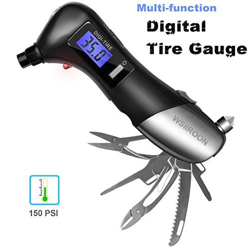 wsiiroon Multi-function Digital Tire Pressure Gauge 150 PSI-Blue Backlight LCD, LED Flashlight, SOS Rescue Light, Safety Hammer, and Multi-Function Tool Kit, Black (1 Pack)