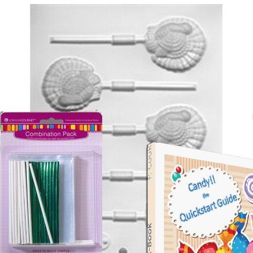 Lorann Lollipop Hard Candy/Chocolate Mold Bundle - Includes Quick Start Guide +25 Lollipop Bags + 25 Twist Ties + 25 Lollipop Sticks + 1 Mold Sheet (Turkey) ()