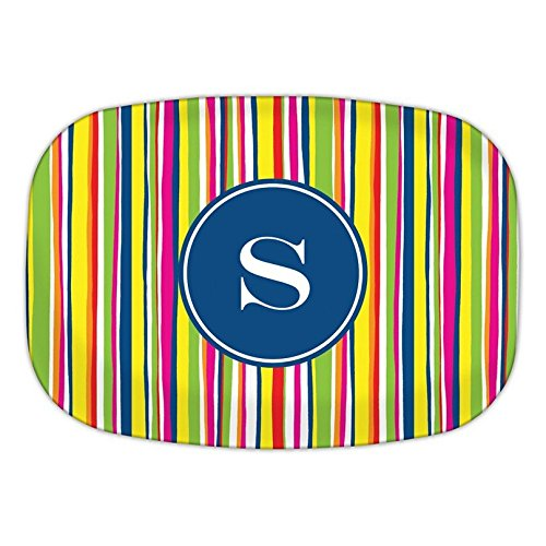 Chatsworth Bright Stripes Melamine Platter with Single Initial, S, Multicolored
