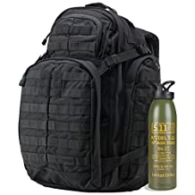 5.11 Tactical Series Rush 72 Backpack with Green Splash Bang Aluminum Water Bottle, Black