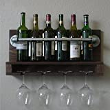 WGX Iron Pipe &Wood Industry Rustic Wall Mounted Wine Rack Liquor Bottle Holder Bracket , Shelf Storage Shelves Bookshelf