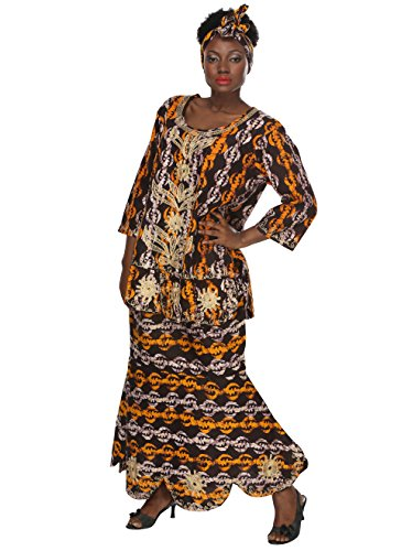 African Planet Women's Printed Wax Drawstring Flared Skirt Tribal Brown Ankara by African Planet