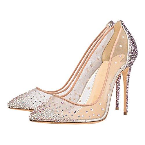 F Large Size Women's Shoes, Wedding Shoes, Dinner Dress High Heels, UK6.5-8.5