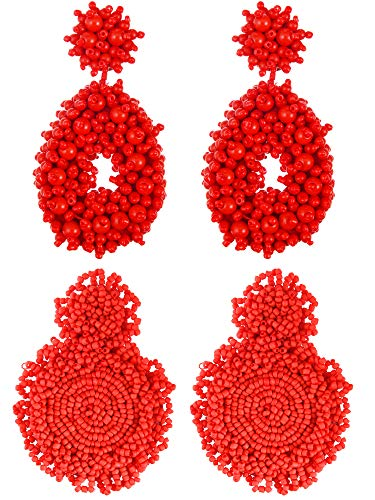 2 Pairs Bohemian Dangle Earrings Beaded Drop Earrings Statement Handmade Stud Earrings for Women Girls Jewelry, 2 Colors (Color Set 2)
