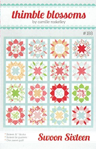 "Swoon Sixteen Quilt Pattern, 16"" Blocks, Fat Quarter Friendly, Finished Size 74"" Square"