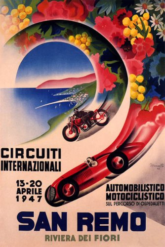 1947 SAN REMO RIVIERA OF FLOWERS CIRCUIT AUTOMOTIVE MOTORCYCLE CAR RACE ITALY LARGE VINTAGE POSTER REPRO