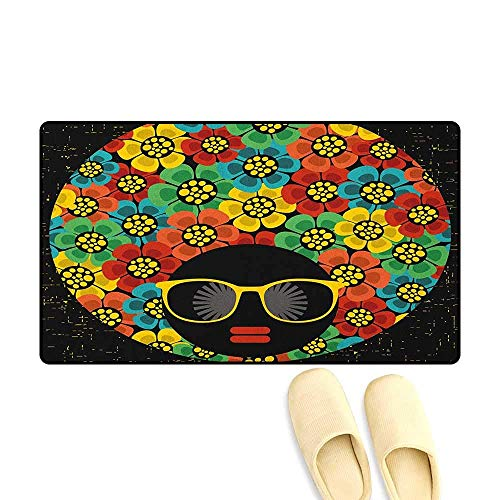 YGUII 70s Party Door Mats for Inside Bathroom Non Slip Backing Abstract Woman Portrait Hair Style with Colorful Flowers Sunglasses Lips Graphic Size:16X23.6in (40x60cm) Multicolor -