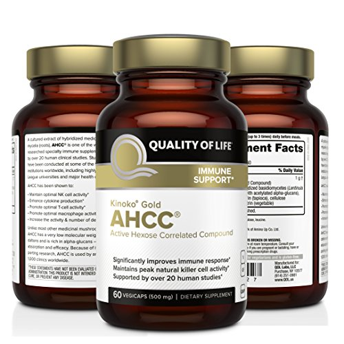 Premium Kinoko Gold AHCC Supplement–500mg of AHCC per Capsule–Supports Immune Health, Liver Function, Maintains Natural Killer Cell Activity & Enhances Cytokine Production–60 Veggie Capsules by Quality of Life (Image #3)