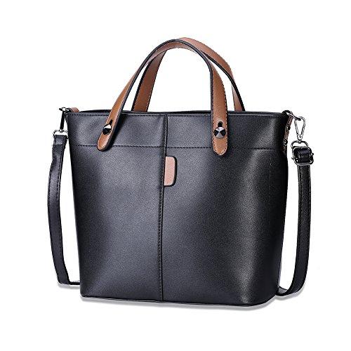 [해외]Hkiss 유럽 아메리칸 패션 레이디 블랙 솔리드 컬러 핸드백 가방 물통/Hkiss European American Fashion Lady Black Solid Color Handbag Bag Water Bucket