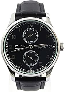 Parnis Mens Portugal Style Automatic Watch Seagull Movement St25 Energy Display