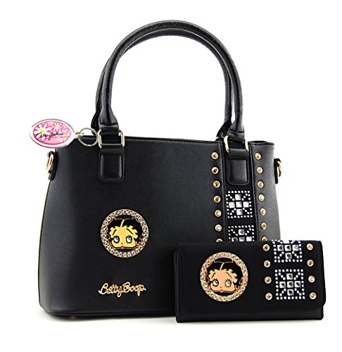 Betty Boop Premium Purse and Wallet Set, Rhinestones (All (Betty Boop Top Zip)
