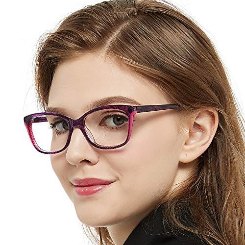 OCCI CHIARI Purple Wayfarer Non-prescription Glasses Eyeglasses Clear Lens Eyewear Frame for Women 52mm (Purple)