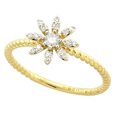 7f2a120c73df0 Amazon.com: Tiny 14k Yellow Gold Diamond Daisy Flower Ring for Women ...