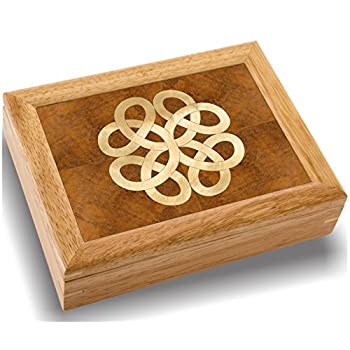 Wood Art Celtic Box - Handmade USA - Unmatched Quality - Unique, No Two are the Same - Original Work of Wood Art. A Celtic Gift, Ring, Trinket or Wood Jewelry Box (#2852 Celtic Knot 6x8x2)