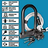 LewadUSA Bike U Lock with Extra Long 5.5-feet (12mm x1.7m) Bicycle Lock Cable, Three Laser-Cut Keys & Universal Bike U Lock Mounting Bracket for Mounting Bike, Road Bike, Electric Bike & More